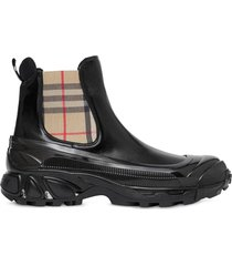 burberry vintage check coated chelsea boots - black