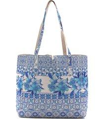 bolsa sacola desigual dupla face com necessaire azul/bege - kanui
