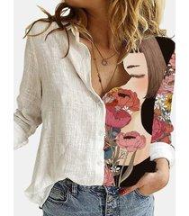 camicetta patchwork con colletto rovesciato a maniche lunghe stampata a fiori per donna