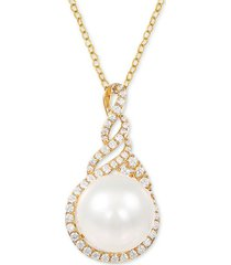 "arabella cultured white ming pearl (13-14mm) & swarovski zirconia 18"" pendant necklace in 14k gold over sterling silver, created for macy's"
