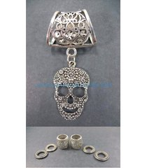 us seller-scarf tube jewelry sugar skull day of the death pendant scarf ring