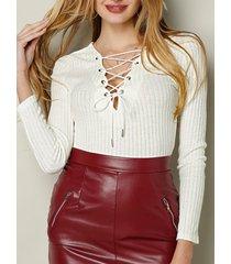 camicetta casual da donna a maniche lunghe annodata a maglia tinta unita
