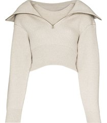 jacquemus risoul zip-up merino jumper - grey