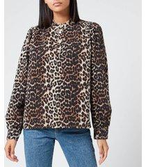 ganni women's print denim shirt - leopard - eu 38/uk 10