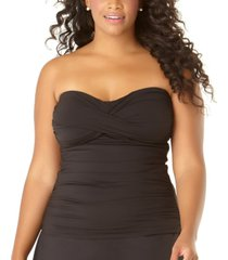 anne cole plus size twist-front strapless tankini women's swimsuit