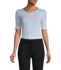 n:philanthropy women's ruffled-sleeve cotton bodysuit - groovy blue - size s