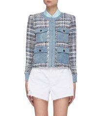 'avis' denim detail tweed jacket