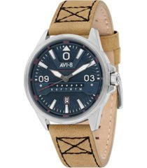 avi-8 men's hawker harrier ii cream genuine leather strap watch 45mm