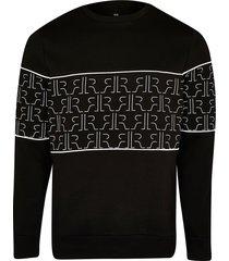river island mens black rr monogram blocked sweatshirt