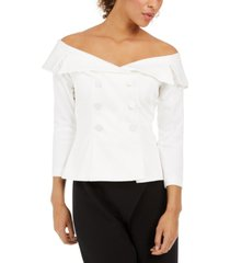 adrianna papell double-breasted off-the-shoulder top