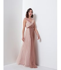 motivi maxi vestito lungo sfumato donna rosa