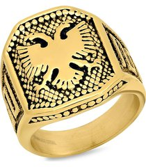 anthony jacobs men's 18k goldplated & stainless steel eagle shield ring - size 11