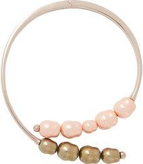 x panconesi beaded silver tone choker necklace