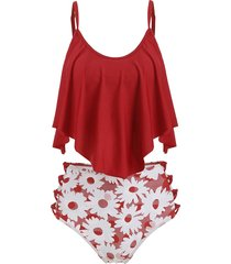 floral lattice flounce tankini swimsuit
