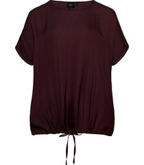 blouse round neck plus loose fit blouses short-sleeved röd zizzi