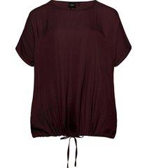 blouse round neck plus loose fit blouses short-sleeved röd zizzi
