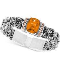 effy citrine (9-1/6 ct. t.w.) & diamond (1/10 ct. t.w.) woven bracelet in sterling silver & 18k rose gold