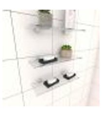 kit com 3 prateleiras para banheiro 30 cm vidro temperado