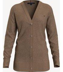 tommy hilfiger essential boyfriend cardigan rubber heather - xl