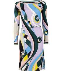 long sleeve belted print dress