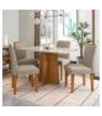 conjunto de mesa de jantar com tampo de vidro e 4 cadeiras ana iv veludo linho off white e creme