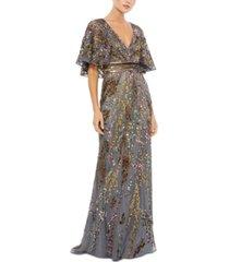 mac duggal sequin cape-sleeve gown