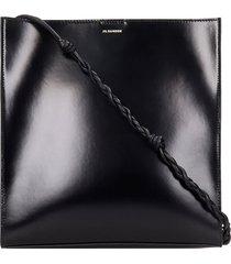 jil sander tangle shoulder bag in black leather