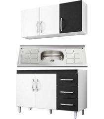 armã¡rio aã©reo e balcã£o gabinete isabel com pia inox 120cm branco/preto - ajl mã³veis - branco - dafiti