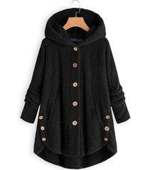botón de felpa diseño abrigo de peluche de manga larga
