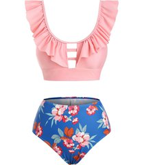 floral ladder cutout ruffle tankini swimwear