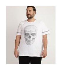 camiseta masculina plus size caveira manga curta gola careca branca