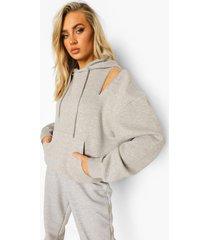 hoodie met rits en schoudervulling, grey marl