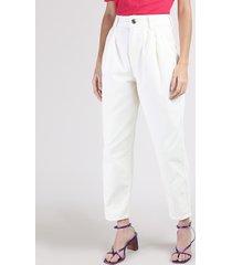 calça de sarja feminina baggy cintura super alta alfaiatada off white