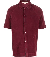 massimo alba terrycloth buttoned top - red