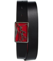 men's christian louboutin ricky logo buckle leather belt, size 100 eu - black/ red/ black gunm