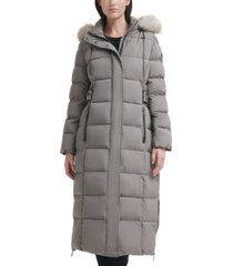 dkny stretch faux-fur-trim hooded maxi puffer coat