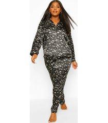 plus satijnen sterrenprint pyjama set met broek, black