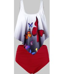 plus size ombre butterfly print high rise tankini swimsuit
