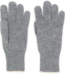 brunello cucinelli contrast-trimmed cashmere gloves - grey