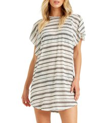 women's billabong out for waves cover-up tunic, size large - white (nordstrom exclusive)