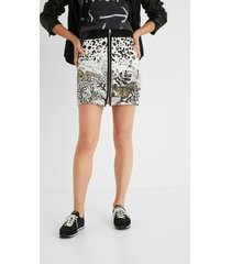 tropical short skirt zipper - white - l