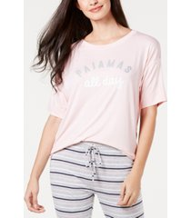 jenni ultra soft core printed short sleeve pajama shirt, created for macy's
