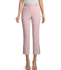 rebecca taylor women's rose plaid trousers - rose - size 6