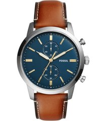 fossil men's chronograph townsman light brown leather strap watch 44mm fs5279