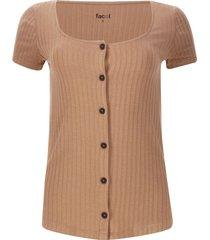 camiseta acanalada con botones color beige, talla 12