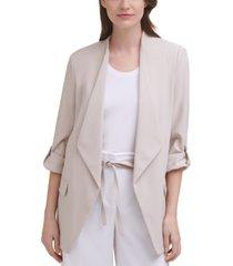 calvin klein x-fit draped-collar roll-tab-sleeve trench blazer