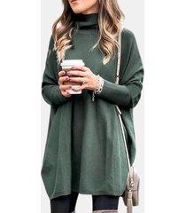 camicetta casual allentata manica lunga dolcevita tinta unita per donna