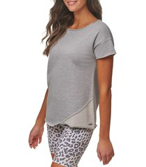 marc new york performance women's off duty french terry asymmetric top - grey - size s