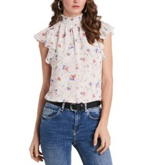 1.state flutter-sleeve floral printed blouse