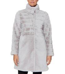 jones new york petite stand-collar faux-fur coat